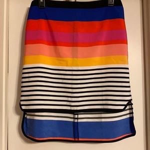 ASOS high low multi color stripe skirt